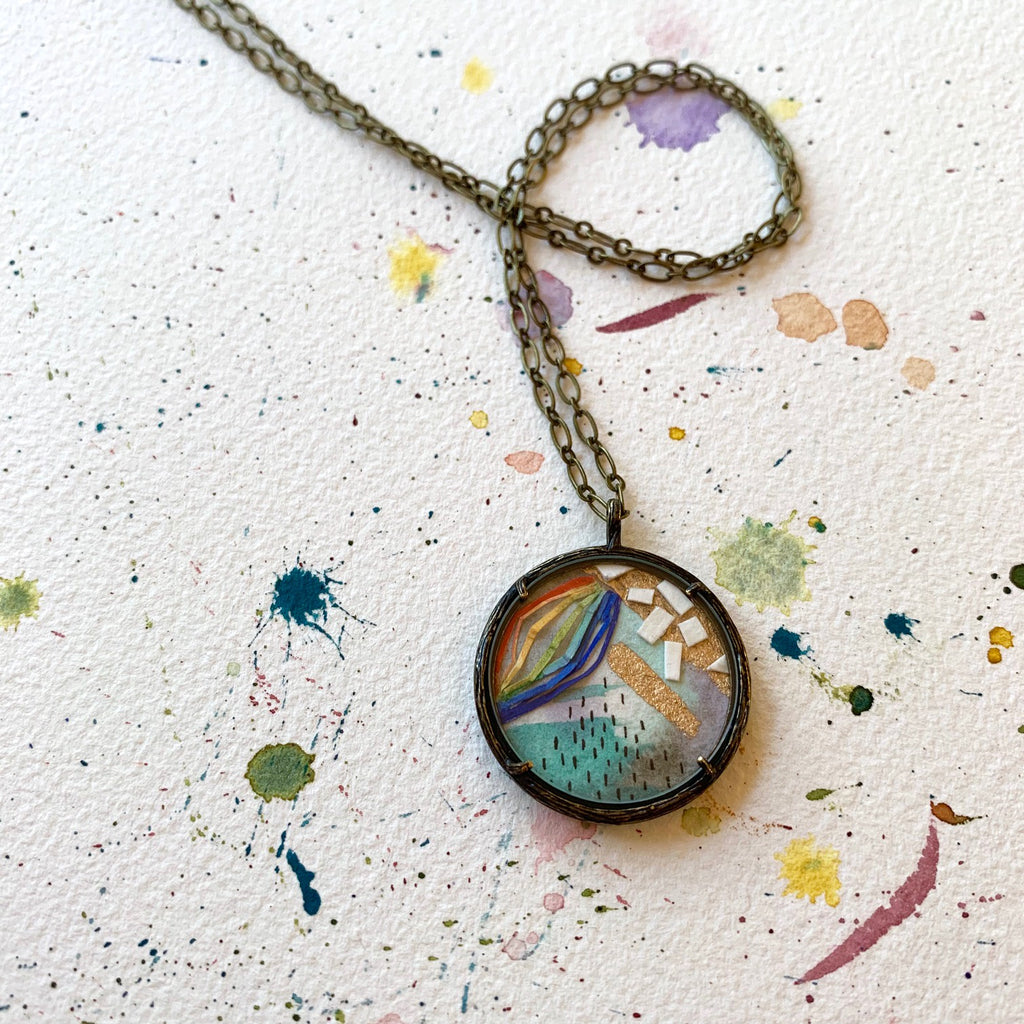 Hand Painted Necklace Collage Rainbow