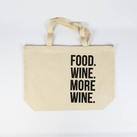 FR & Co - Food Wine More Wine Canvas Tote Bag