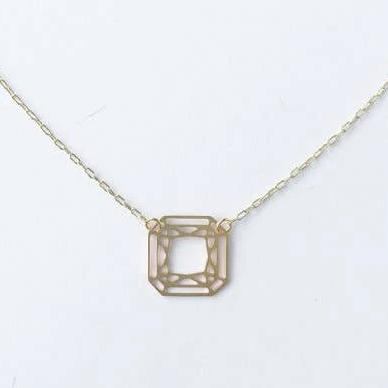 A Tea Leaf Jewelry - Square Cut Gem Necklace