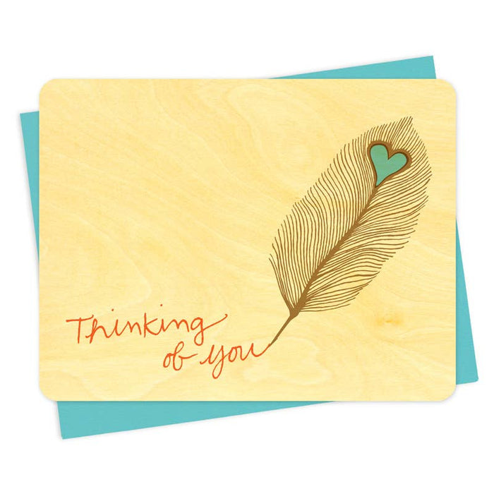 Feather Thinking of You Wood Card