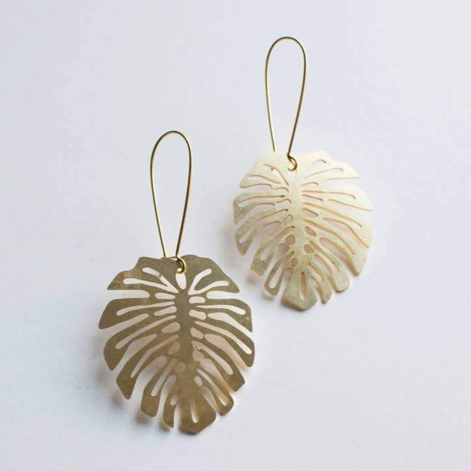 Monstera deliciosa Leaf Earrings