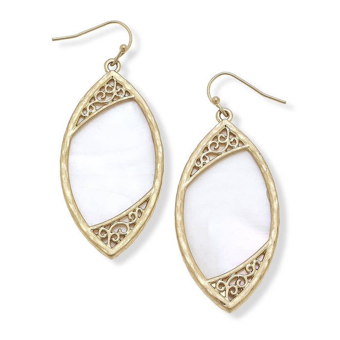 Kennedy Earrings In White Mother Of Pearl Shell