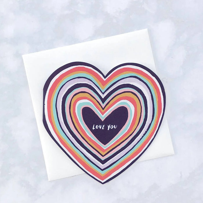 Love You Diecut Heart Card