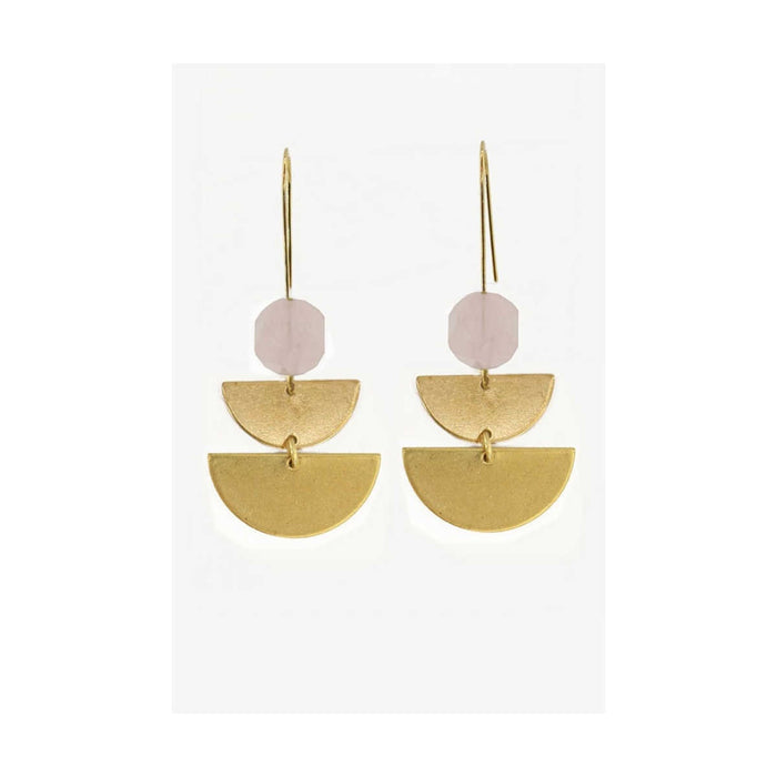 Semi Stack Rose Quartz Earrings