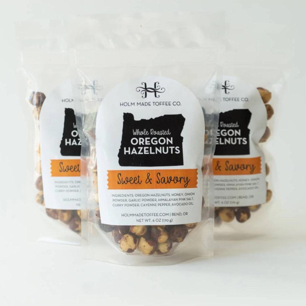 Holm Made Toffee Co. - Whole Roasted Oregon Hazelnuts - Sweet and Savory