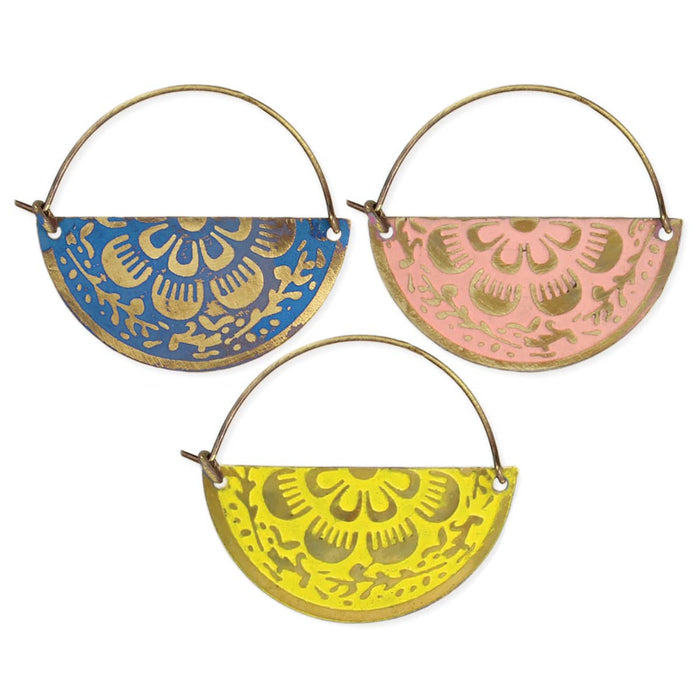 Floral Enamel Burnished Gold Half Circle Hoop Earrings