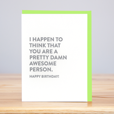 Huckleberry Letterpress - Damn Awesome Person Birthday