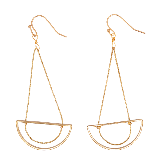 Gold Half Moon Drop on Chain Earrings
