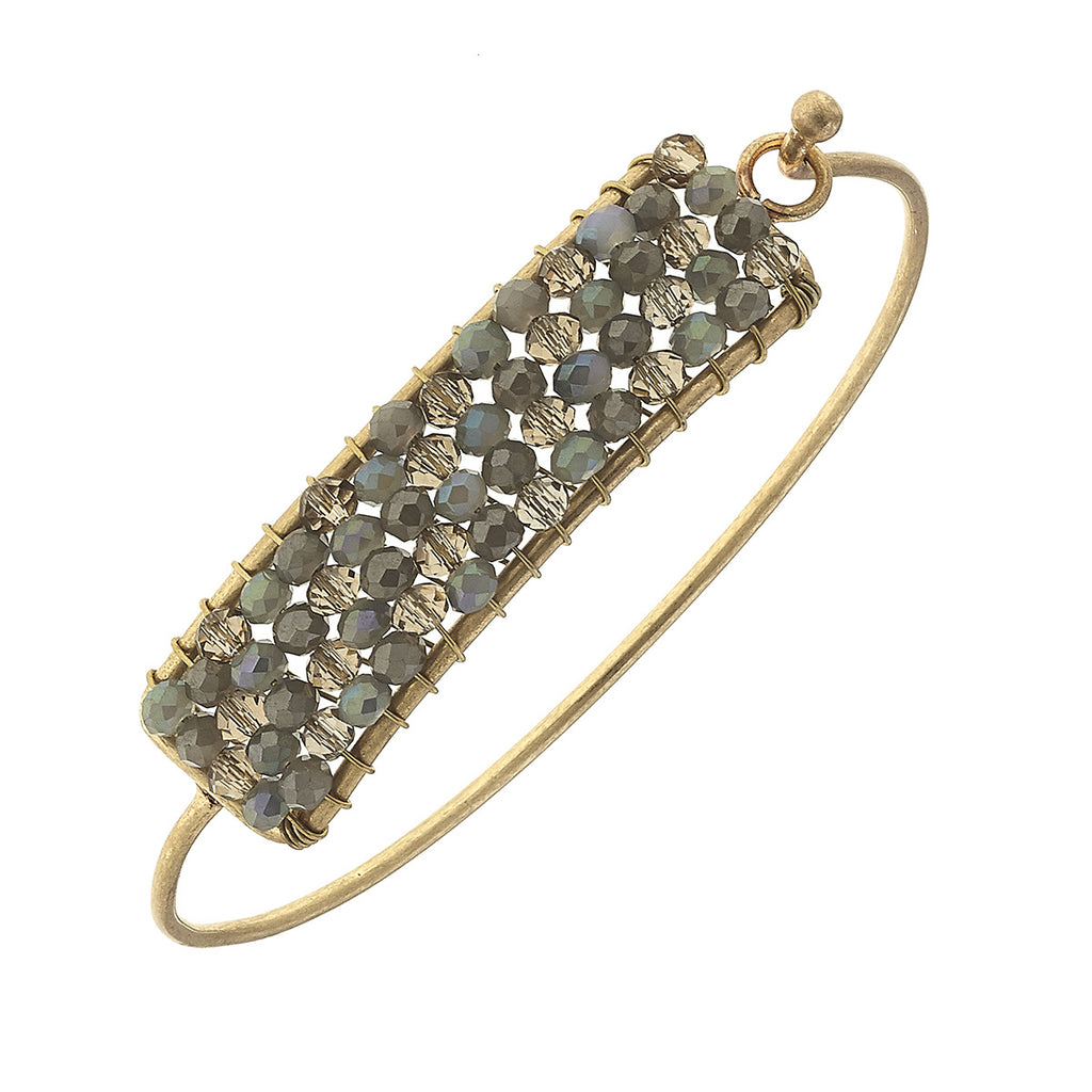Canvas - Florence Beaded Latch Bangle In Grey Glass