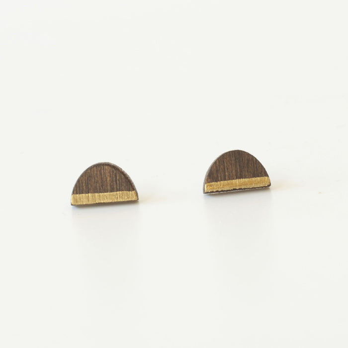 Post Earrings - Walnut + Gold Sunrise
