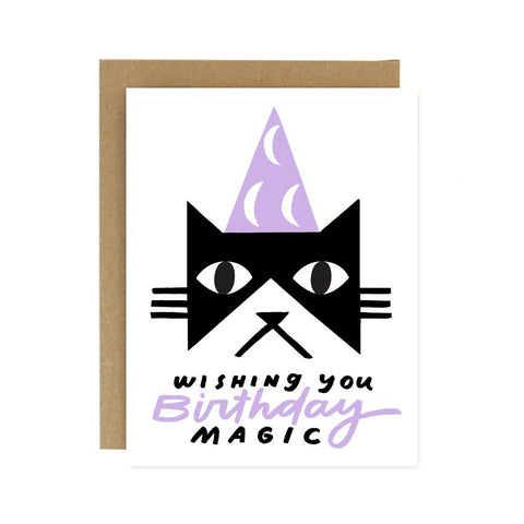 Worthwhile Paper - Birthday Magic Black Cat Card
