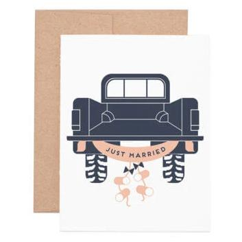 Ruff House Art - Just Married Truck Greeting Card