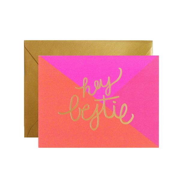 lake + loft / meant to be sent - Hey Bestie Greeting Card