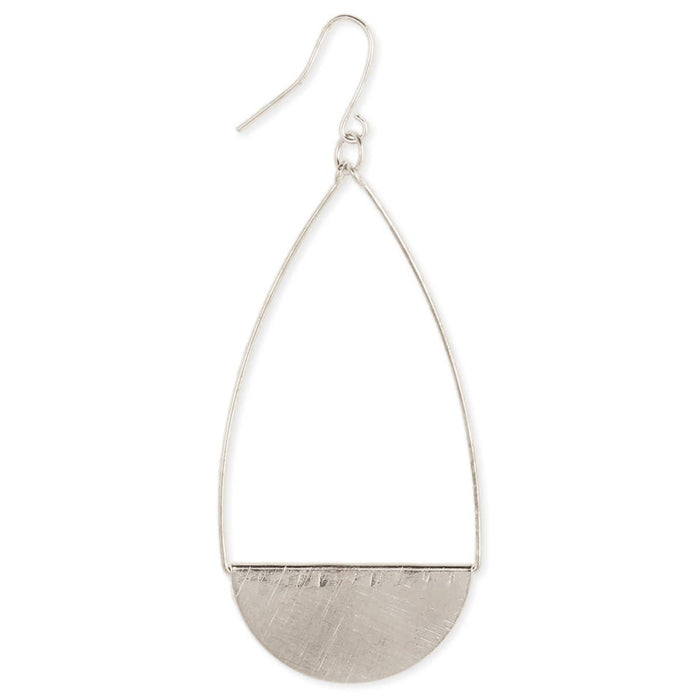Brushed Silver Teardrop Earrings