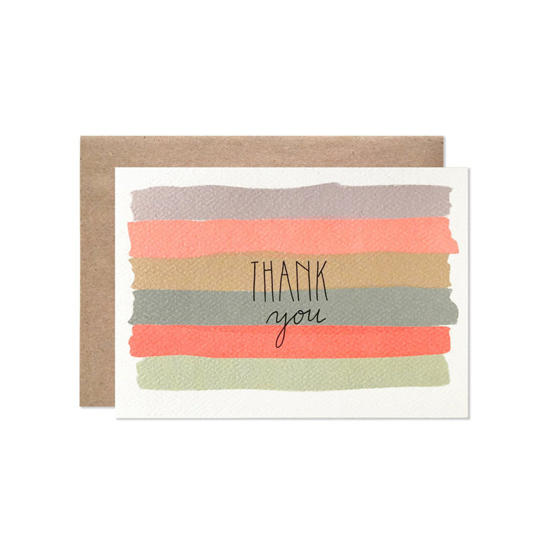 Hartland Brooklyn - Thank You Watercolor Stripes Card Set Of 6
