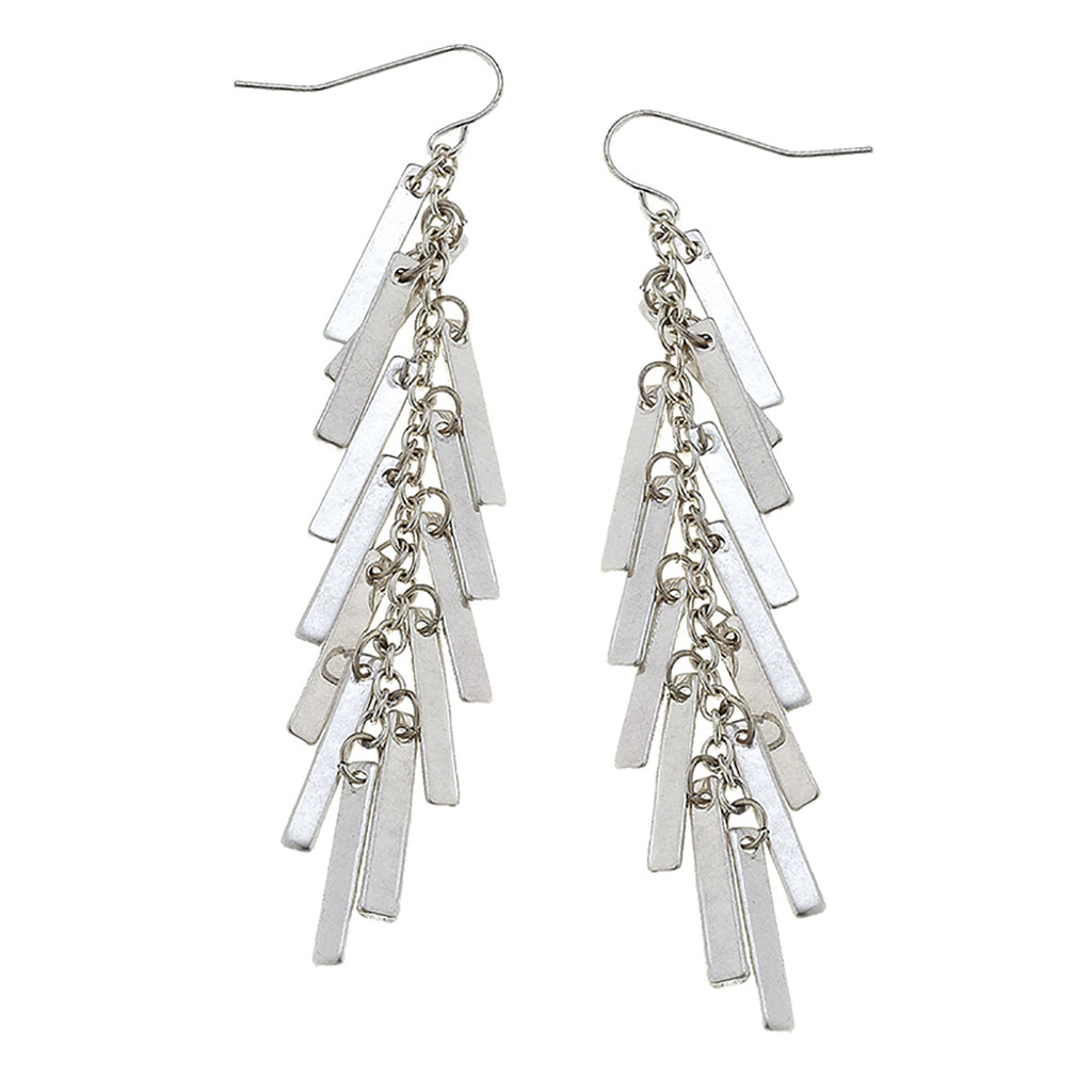 Canvas - Cadence Matchstick Fringe Earrings In Worn Silver