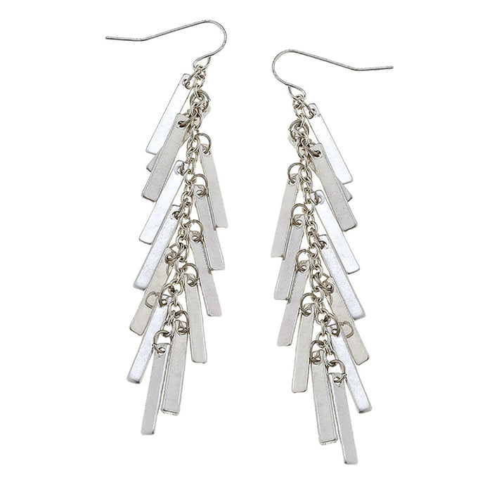 Cadence Matchstick Fringe Earrings In Worn Silver