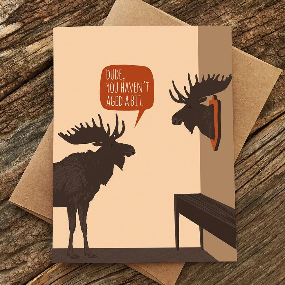 Aged Moose Trophy Birthday Card