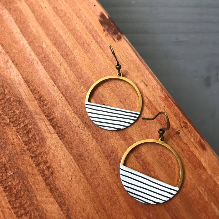 Pinstripe Hoop Earrings