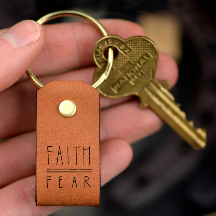 Faith Over Fear Leather Keychain