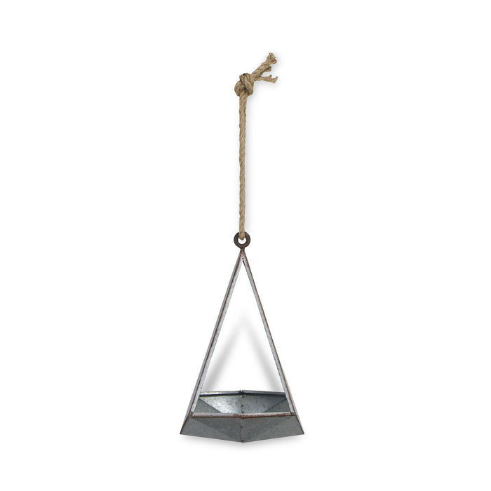 Galvanized Metal Abstract Pyramid Planter with Rope Hanger