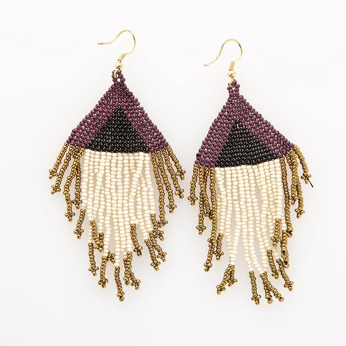 Port Ivory Black Gold Seed Bead Earring