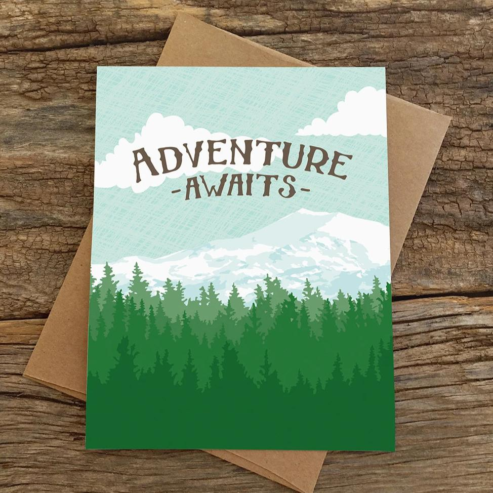 Modern Printed Matter - Adventure Awaits Mountains Card