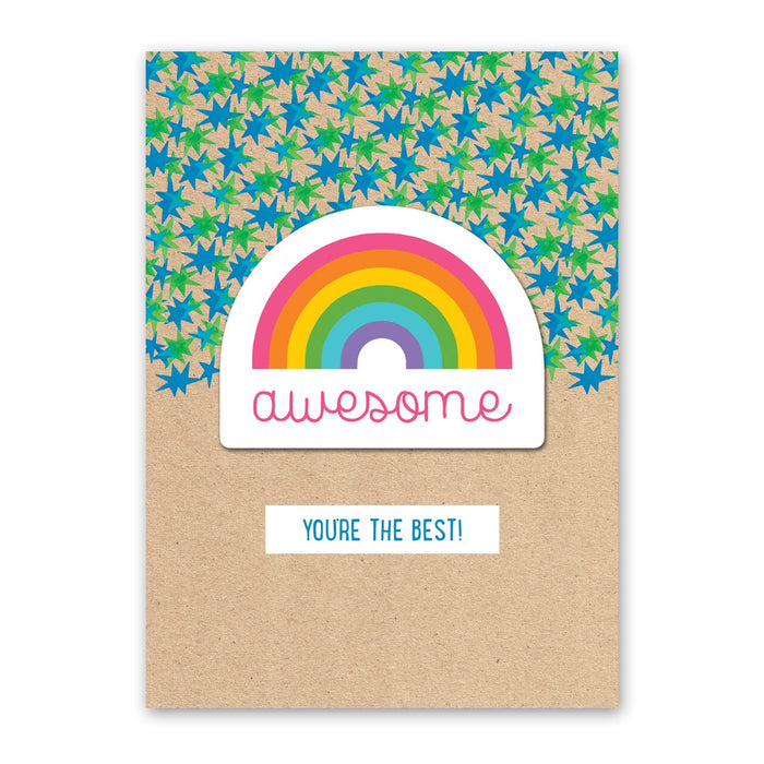 Awesome Rainbow Sticker Card