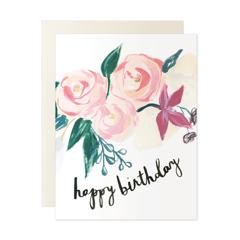 Our Heiday - Pink Florals Happy Birthday Card