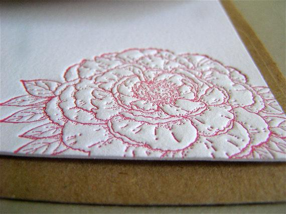 Idea Chic - Greeting Card - Peony Letterpress Notecard / Sewn Envelope