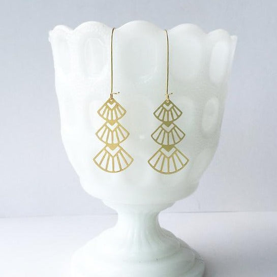 A Tea Leaf Jewelry - Art Deco Triangle Earrings