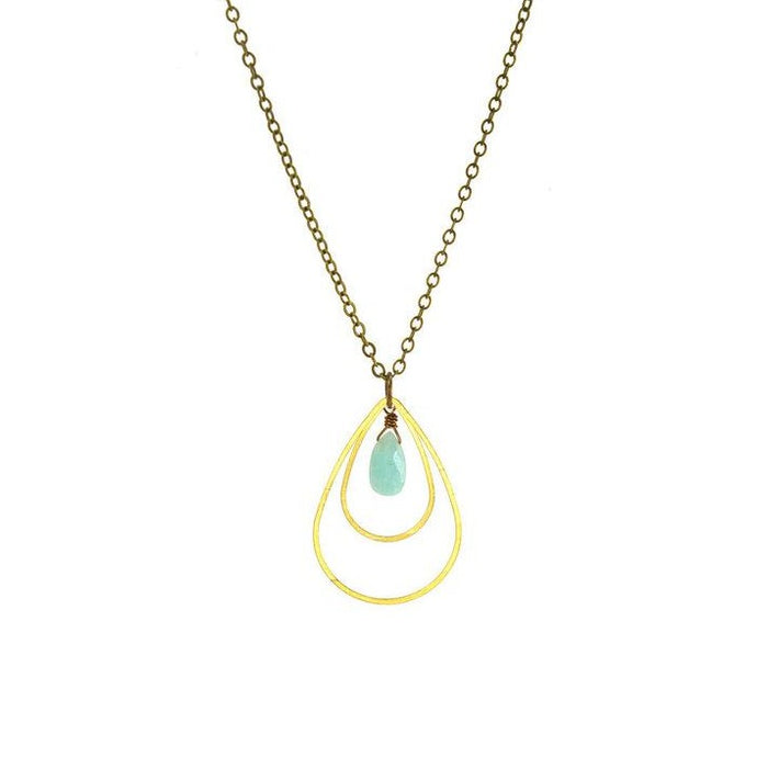 Amazonite Double Teardrop Outline Necklace
