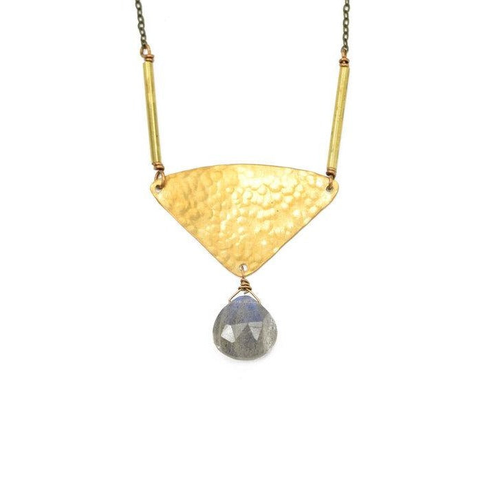 Labradorite Hammered Triangle Necklace