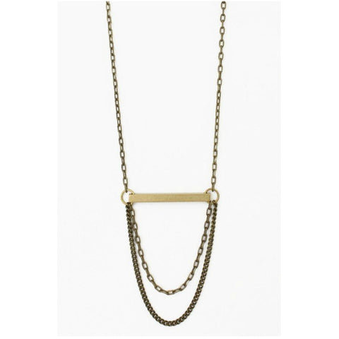 Beam Chained Antiqued Brass Necklace