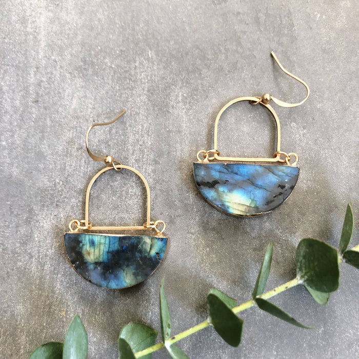 Gem Moon Earrings - Labradorite