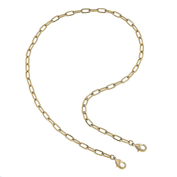 "20"" Medium Paperclip Chain Mask Necklace - Gold"