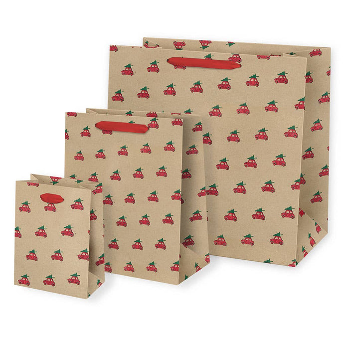Red Glitter Cars with Tree Hat Gift Bags