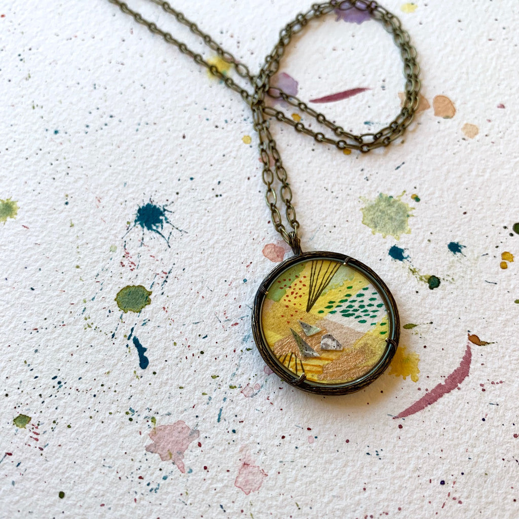 Hand Painted Necklace Collage Yellow