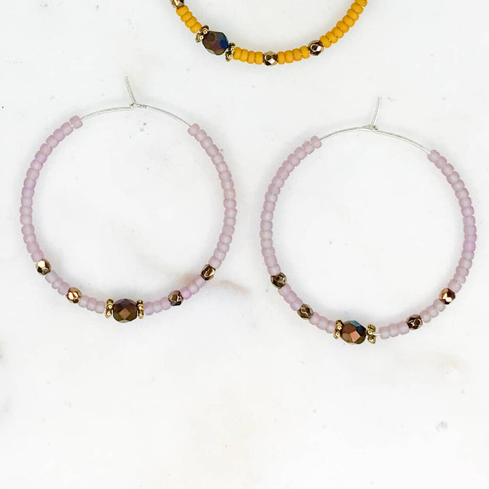 Matte Seed Bead Handmade Hoops | 3 Colors