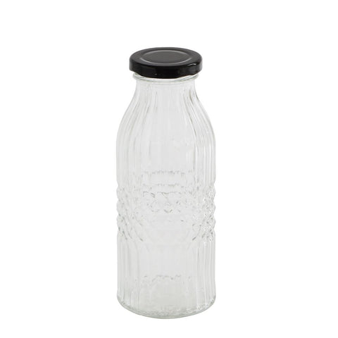 Glass bottle with lid