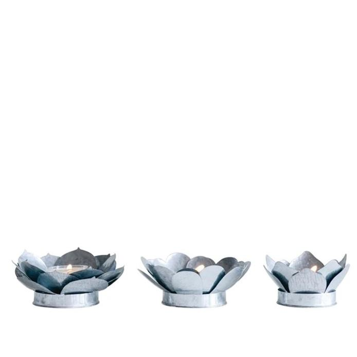 Galvanized Metal Flower Tea Light