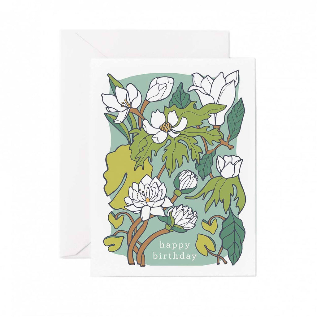 Happy Birthday Card - Water Lily And Lotus