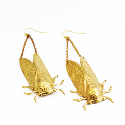 Larissa Loden Jewelry  - Cicada Earrings - Brass or Silver