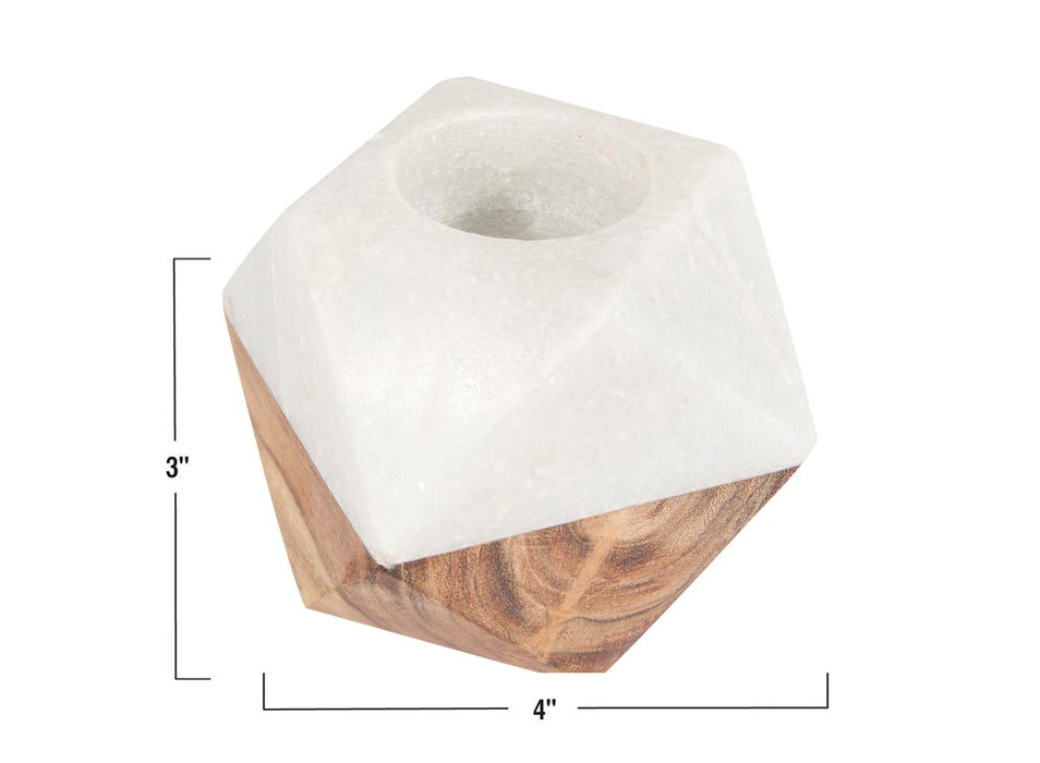 Marble and Wood Candle Holder