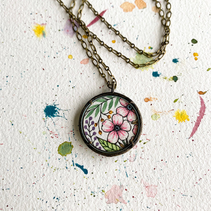 Hand Painted Necklace Pink Florals