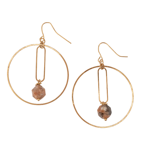 Gold Hoop and Jasper Stone Earrings