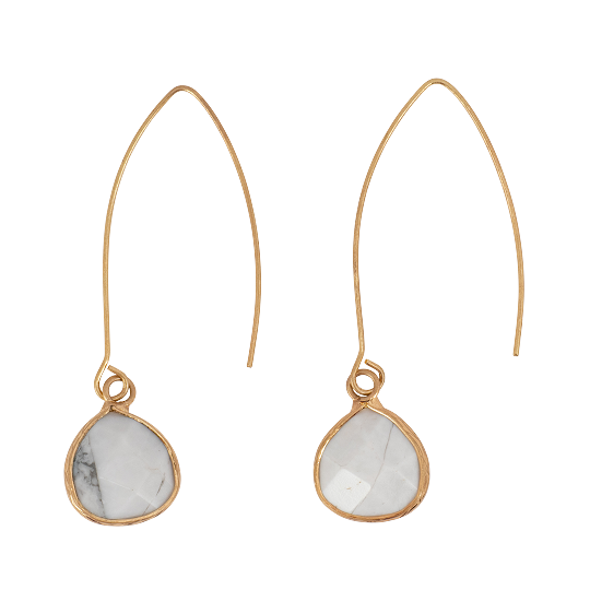 Gold Hook and Howlite Teardrop