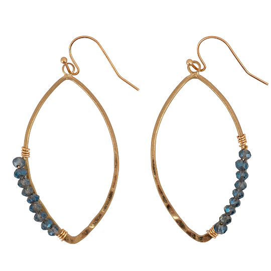 Gold Marquise Hoop + Denim Crystals