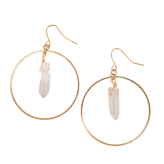 Gold Hoop and Clear Crystal Earring