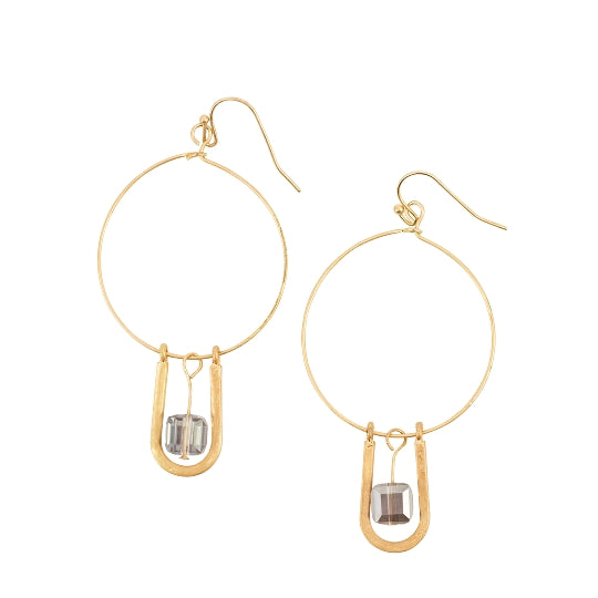 Gold Hoop with Crystal Dangle Earring